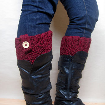 Red Boot Cuffs with Buttons – Knit Boot Toppers - Leg Warmer Cuffs – Ribbed Boot Cuffs – Knit Legwarmers – Fall Fashion – Christmas Gift