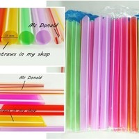 "6.5"" 50 pcs Boba Drinking Straws Party Smoothies Cocktail Milk Shakes Tea Bubble Jumbo Fat Giant"