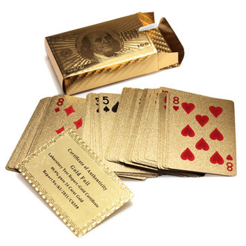 Hot Selling Pure 24 K Carat Novelty Certified Gold Foil Plated Poker Game Playing Cards w 52 Cards & 2 Jokers Special Gift