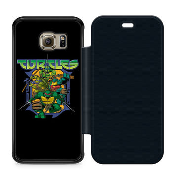 Ninja Turtles Movie Leather Wallet Flip Case Samsung Galaxy S6 Edge