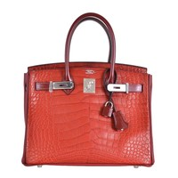 HERMES BIRKIN BAG 30CM ROUGE H MATTE ALLIGATOR WITH LEATHER MIX JaneFinds