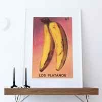 Loteria Los Platanos Mexican Retro Illustration Art Print Vintage Giclee on Cotton Canvas or Paper Canvas Poster Wall Decor
