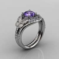 14KT White Gold Diamond Leaf and Vine Amethyst Wedding Band Engagement Ring Set NN117S-14KWGDAM Nature Inspired Jewelry