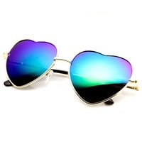 zeroUV - Small Thin Metal Heart Shaped Frame Cupid Sunglasses (Gold Green)