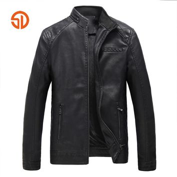 Leather Jacket Men Autumn Winter Solid Black Yellow Loose Moto Washed Leather Faux Leather Jackets And Coats Fleece Lining L-5XL