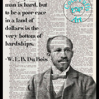 Du Bois Altered Art Portrait Drawing with Quote Vintage Dictionary Page Art Print Upcycled Page Print