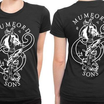 ESBH9S Mumford And Sons Logo Girl Art Black And White 2 Sided Womens T Shirt