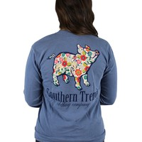 Fall Florals Proud Pig Long Sleeve Tee {Blue Jean}