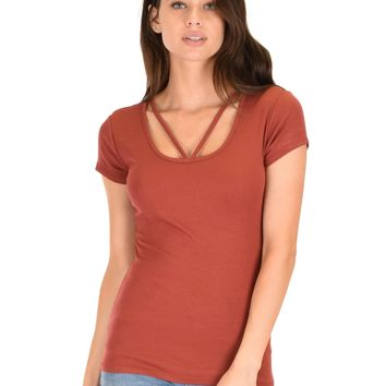 Lyss Loo V-Neck Strappy Rust Ribbed Top