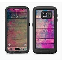 The Pink & Blue Grunge Wood Planks Full Body Samsung Galaxy S6 LifeProof Fre Case Skin Kit