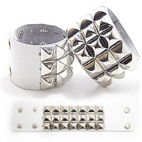 Studded Wristband - White 3 Studded Rows
