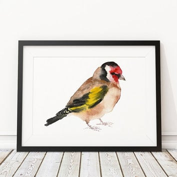Goldfinch print Cute bird watercolor Nursery art ACW65