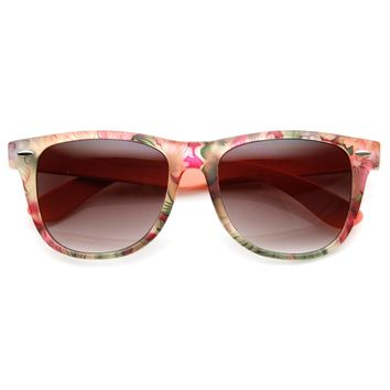 Floral Print Flower Two-Toned Colorful Horn Rimmed Sunglasses 54mm