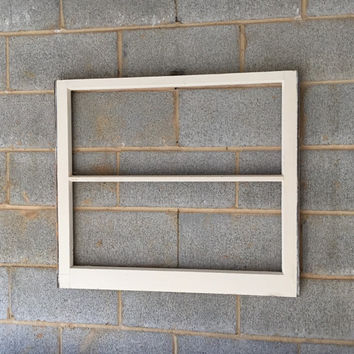 "NO GLASS Vintage 2 Pane Window Frame - White, 32""W x 28""L, Rustic, Antique, Wood, Wedding, Engagement, Beach Decor, Picture Frame, Holiday"