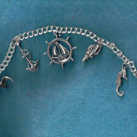 Sterling Silver Nautical Theme Charm Bracelet