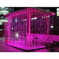 E-Goal 300led Window Curtain Icicle Lights String Fairy Light Wedding Party Home Garden Decorations 3m*3m (Pink)