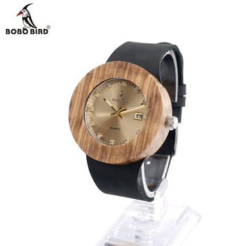 Round Vintage Women's Design Luxury Gold Wooden Bamboo Watches With Leather Quartz Watch And Date