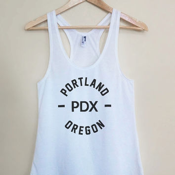PDX - Portland Oregon - Light Weight White Racerback Womens Tank Top - Sizes - Small Medium Large