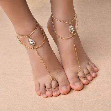 New Arrival Sexy Silver And Gold Color Anklet Chain Ankle Bracelet Foot  Barefoot Jewelry