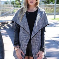 Black & White Oversized Tweed Wrap Jacket