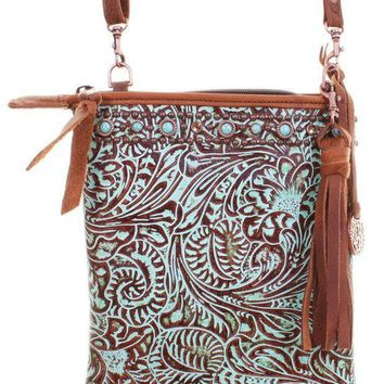 ICIKAB3 Double J Saddlery Turquoise Western Floral Leather Pouch Purse PP24