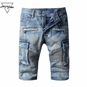 Summer Retro Men Denim Cargo Shorts Washed Do Old Classic Cowboy Shorts Casual Short Knee Length Shorts