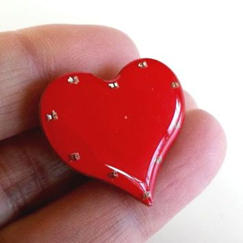 Valentine Flashing Heart Pin Magnetic In Original Card