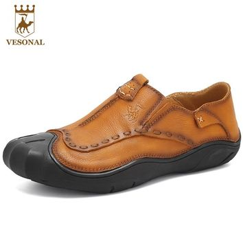 VESONAL Brand Casual Shoes Men Loafers Adult Footwear Quality Ons Boat Soft Driving Genuine Leather Man Mocassin Male Walking