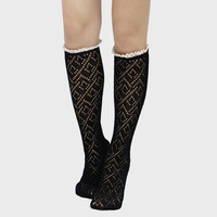 Lace Trimmed Scalloped Pointelle Knee High Socks - Black