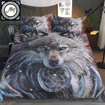 Wolf Warrior by Sunima Art Bedding Set Native American Duvet Cover Indian Wolf With Feather Dreamcatcher Bed Set 3pcs Bedclothes