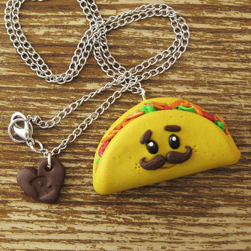 Mustache Taco Polymer Clay Necklace by rapscalliondesign on Etsy