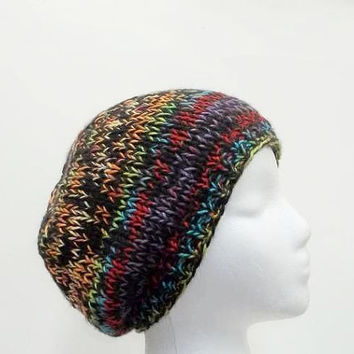 Knit beanie, beret, colorful multicolor, handmade  5027