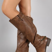 Chain Stirrup Knee High Boot
