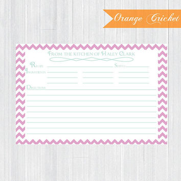 Pink Chevron Personalized Recipe Cards, Ingredients Cards