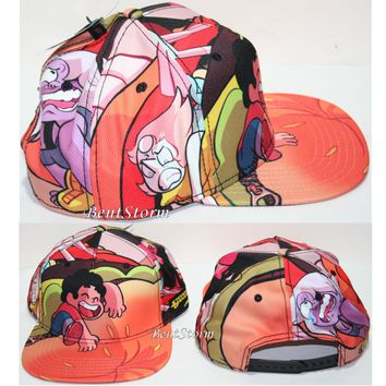Licensed cool Steven Universe Cheeseburger Sublimation Crown Snapback Flat Bill Hat Ball Cap
