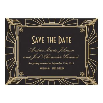 Art Deco Style Wedding Save the Date Personalized Invitation from Zazzle.com