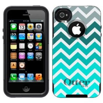 Otterbox Commuter Series Chevron Grey Green Turquoise Pattern Hybrid Case for iPhone 4 & 4S