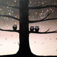 """ARTFINDER: original cute owl painting """"The Owl Squad 2"""" painting art canvas - 30 x 40 inches abstract arts by Stuart Wright - buy original painting online wall canvas art  ..."""
