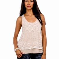 Sleeveless Blouse With Crochet Design