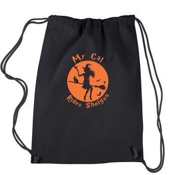 My Cat Rides Shotgun Witch on Broom  Drawstring Backpack
