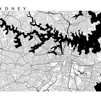 Sydney Map Print - Black and White