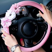 Lovely Flowers Keep Warm Steering Wheel Cover in Winter Steering Wheel Cover Pink
