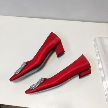 Roger Belle Vivier Women Crystal 2.5cm/4.5cm Pumps in Silk Satin Red - Best Deal Online