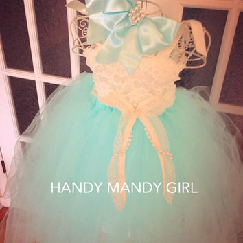 Tiffany blue tutu skirt and Ivory Lace flower girl tutu dress- sizes 6T to 8T-vintage flower girl dress