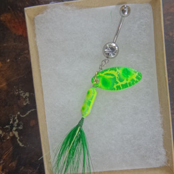 Tye Dye Neon Lime Green Crackle Fishing Lure Navel Belly Button Ring For the Country Fishing Girl