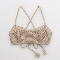 Aerie Crochet Scoop Bikini Top, Tan