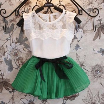 2017 Fashion New Design Sleeveless Dress for Girls with Lace and Bow Pattern Straight Dresses Summer Girls Clothing 069