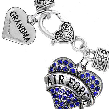 Air Force Grandma Heart Charm Bracelets