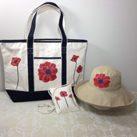 Mother's Day Gift Set Scala Big Brim Hat, Tote Bag and Travel/ID Purse with Hand Painted Red Poppies