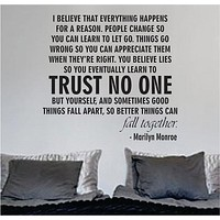 Marilyn Monroe Trust No One Quote Decal Sticker Wall Vinyl Decor Art Home Bedroom Girls Teen Inspirational Cute